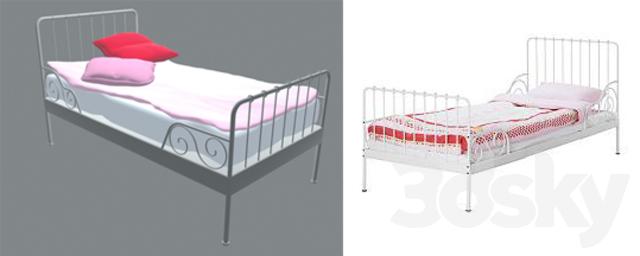 3d models bed ikea kids sliding bed minnen. Black Bedroom Furniture Sets. Home Design Ideas