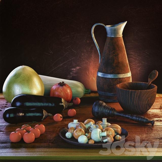 Mushrooms, vegetables, fruits