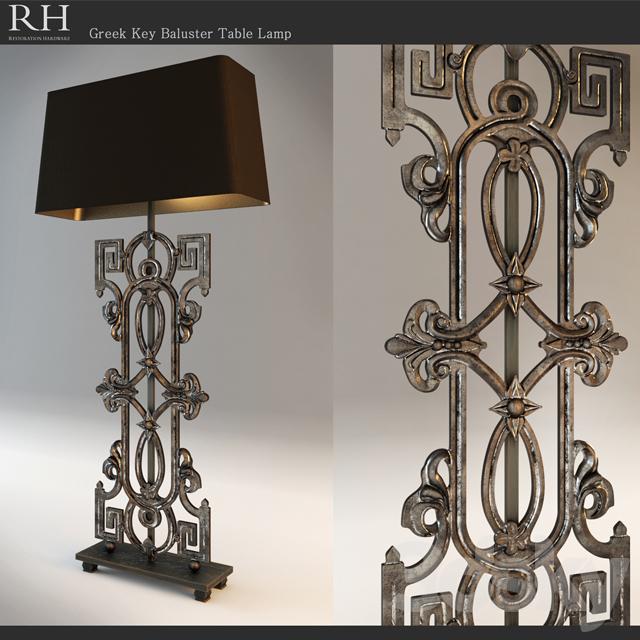 3d Models Table Lamp Restoration Hardware Greek Key Baluster