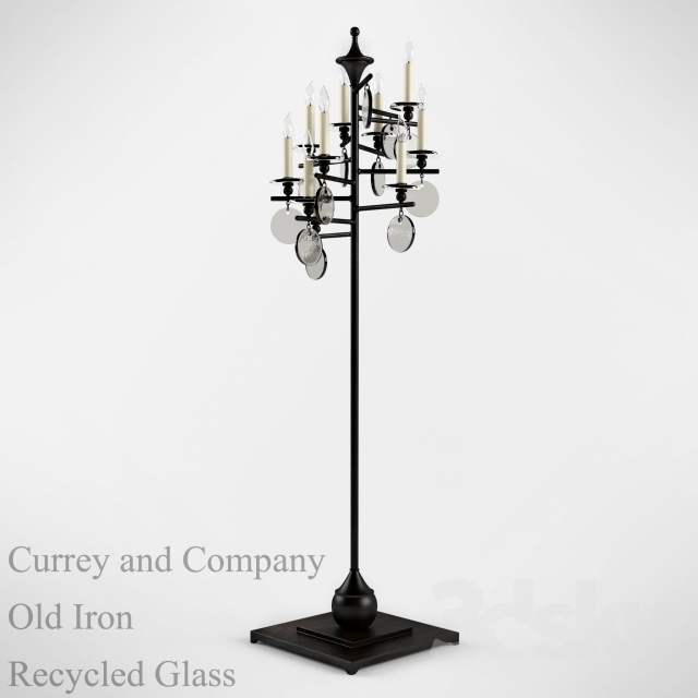 3d models: Floor lamp - Currey and Company 8032 Old Iron