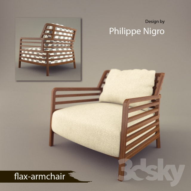3d Models Arm Chair Philippe Nigro Flax