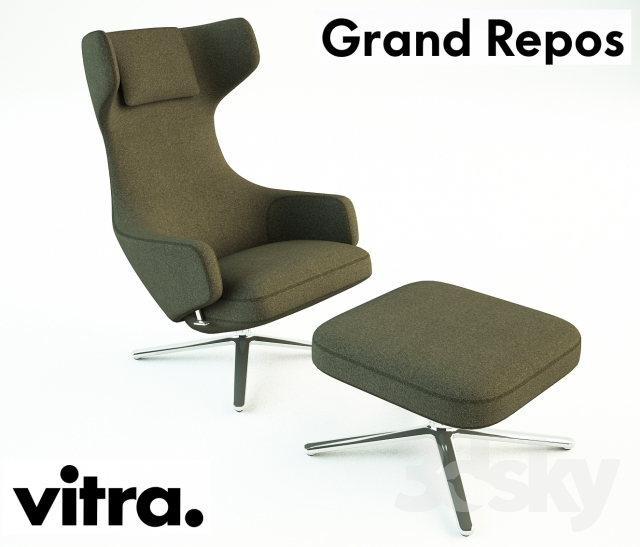 3d models arm chair vitra grand repos ottoman. Black Bedroom Furniture Sets. Home Design Ideas