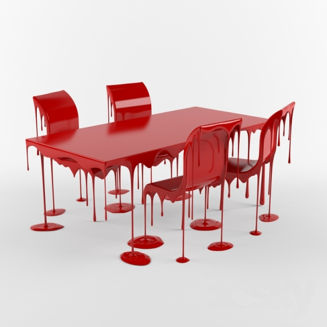 3d Models Table Chair Paint Drip Table