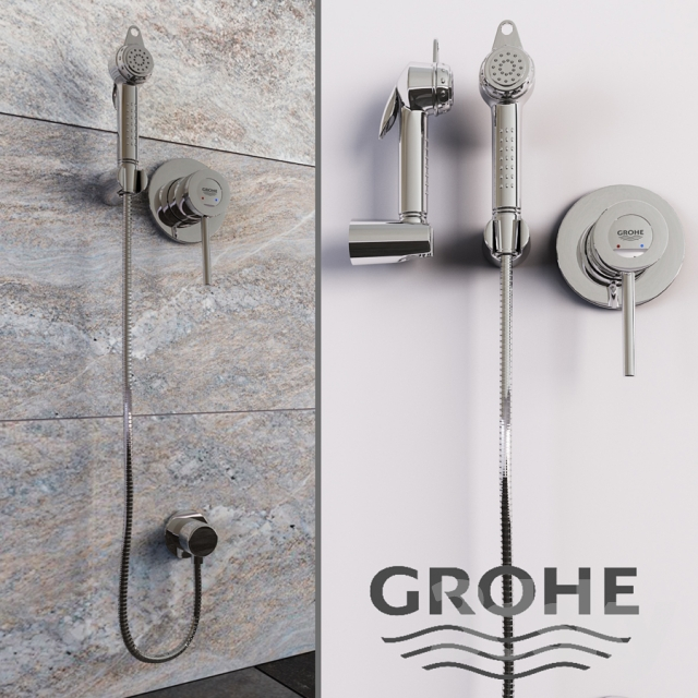 3d models faucet grohe bau classic hygienic shower. Black Bedroom Furniture Sets. Home Design Ideas
