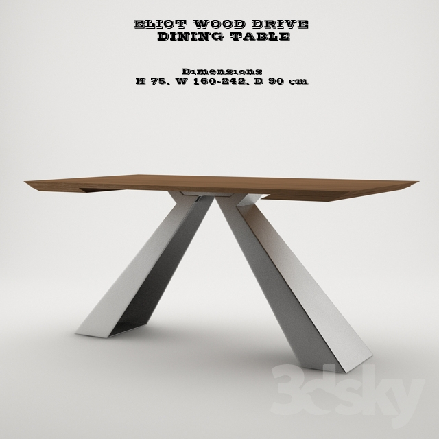 3d Models Table Eliot Wood Drive Dining