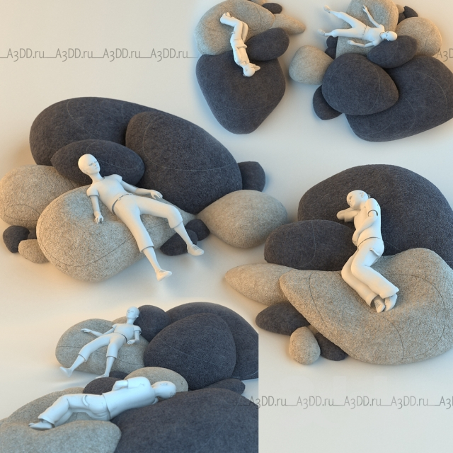 Floor Pillows Stones : 3d models: Other soft seating - Floor cushions stones