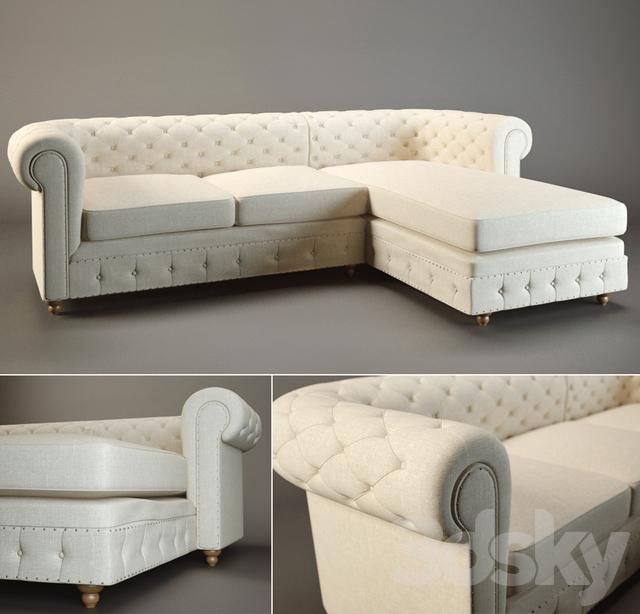 Horchow Warner Linen Sectional Sofa