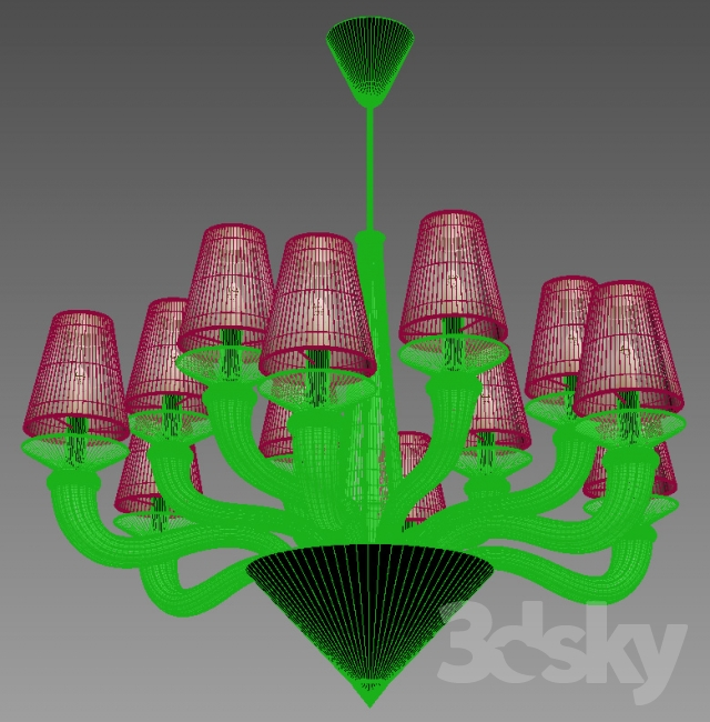 3d models: Ceiling light - Fendi Casa ottavia chandelier