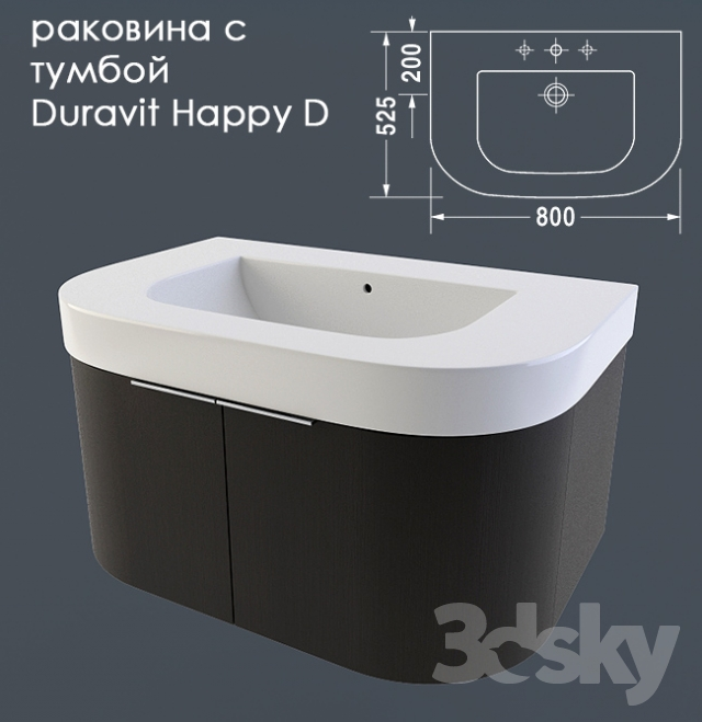 3d models wash basin sink with pedestal duravit happy d. Black Bedroom Furniture Sets. Home Design Ideas