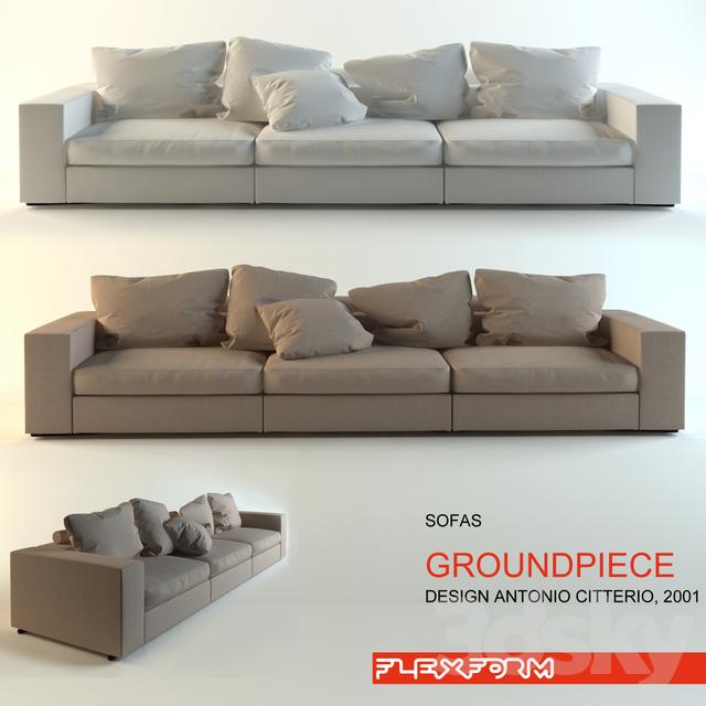 3d models sofa groundpiece flexform v2. Black Bedroom Furniture Sets. Home Design Ideas