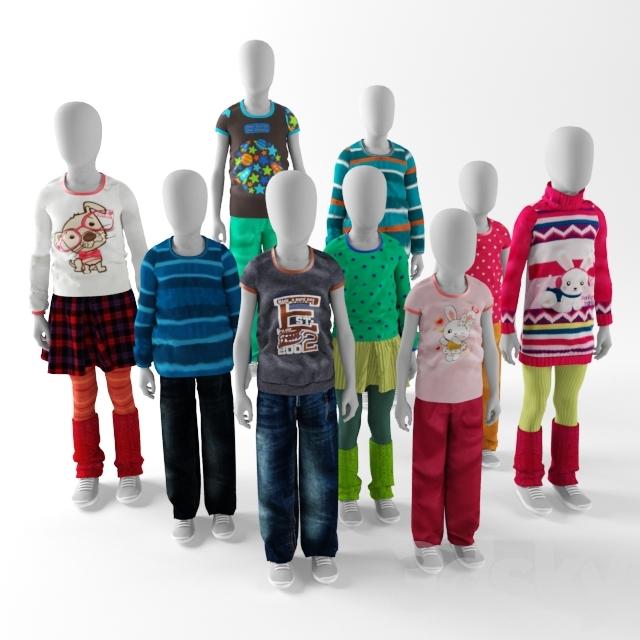 Children mannequins abstract
