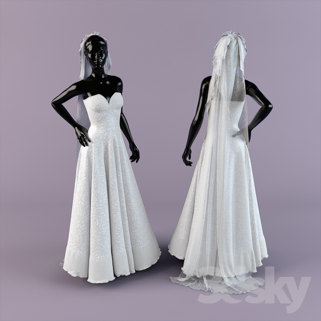 3d Models Clothes And Shoes Wedding Dress