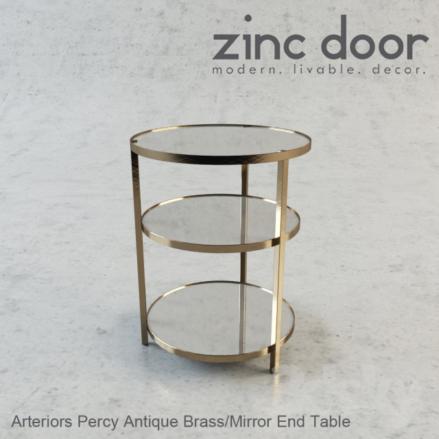 80f600918153 3d models  Table - Arteriors Percy Antique Brass   Mirror End Table