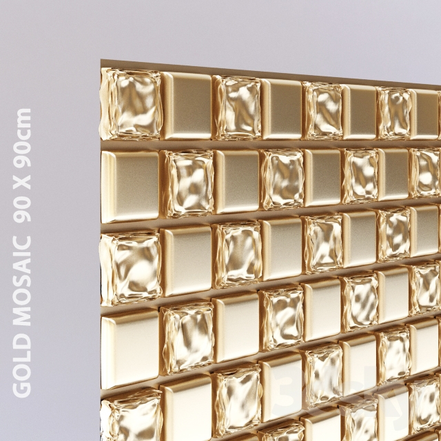 3d models bathroom accessories free gold mosaic 90 x 90 cm for Gold mosaic bathroom accessories