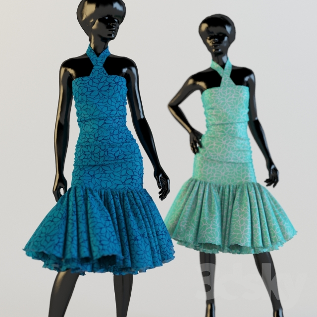 Dress on a mannequin in 2 positions