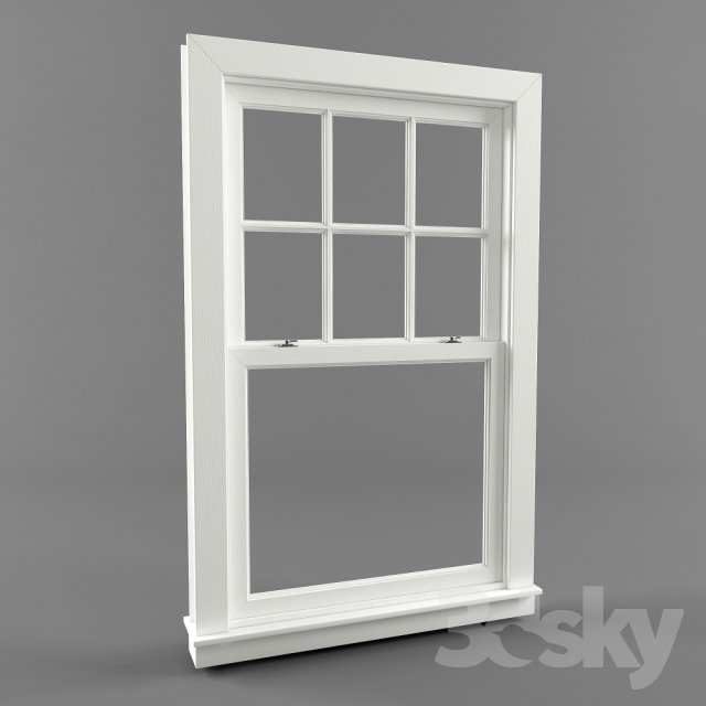 3d models windows american window double hung window for Window 3d model