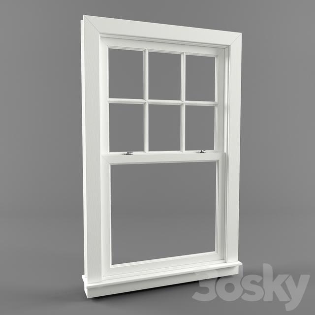 3d models windows american window double hung window for Window 3d model