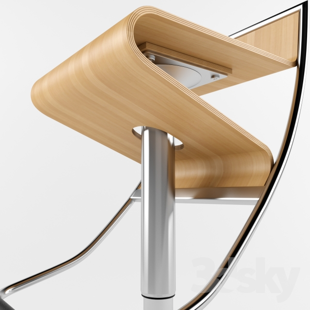 3d Models Chair Zig Zag Bar Stool In Natural