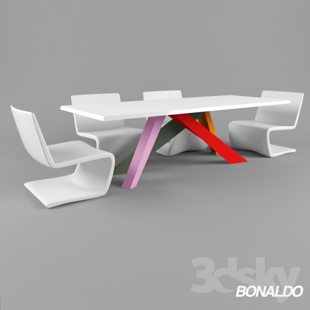 3d models: Table + Chair - Table Bonaldo Big Table, chairs Venere Lounge