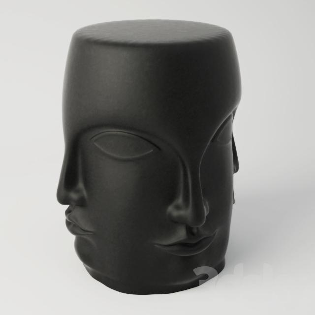 3d Models Table Black Carved Faces Garden Stool