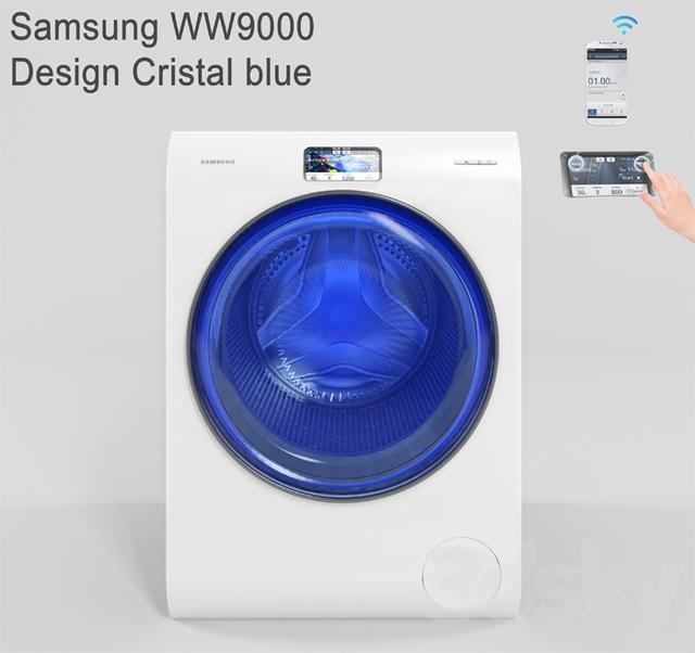 3d models household appliance samsung ww9000 design crystal blue. Black Bedroom Furniture Sets. Home Design Ideas