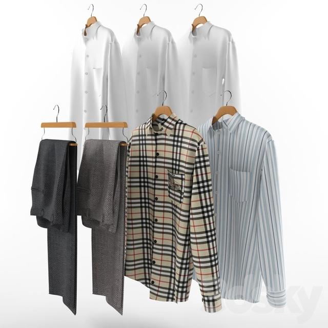 A set of men's clothes on hangers