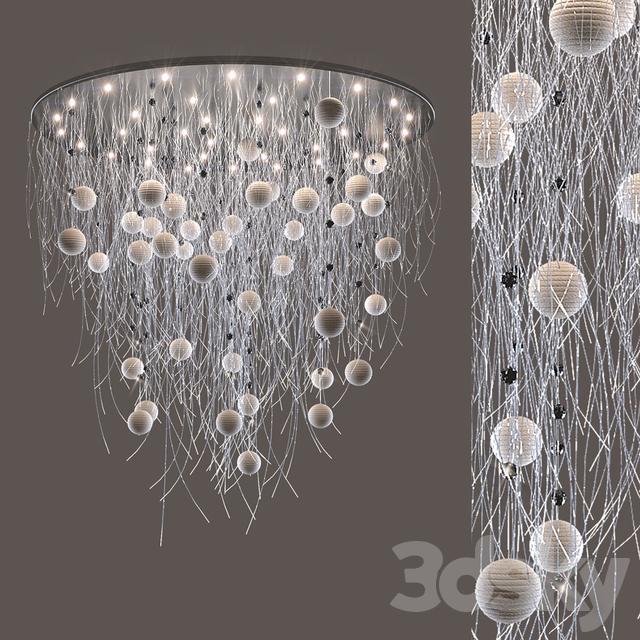3d models: Ceiling light - fiber optic chandelier with beads