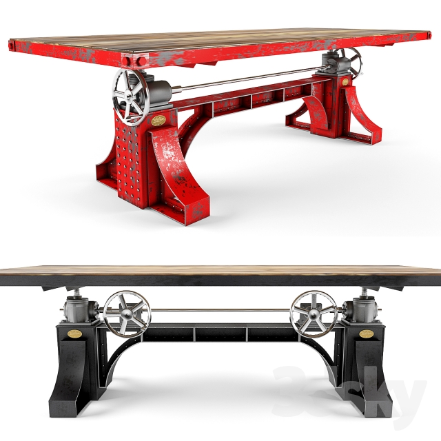 3d models table vintage industrial bronx crank table
