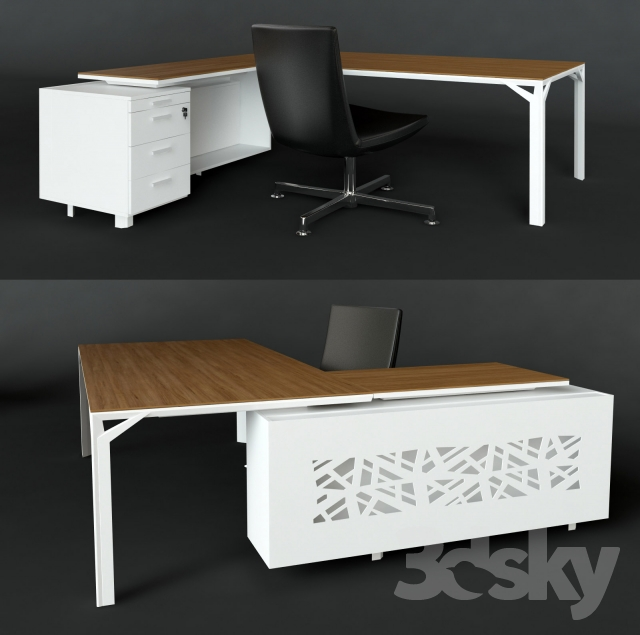 3d Models Office Furniture Negotiating Table And Desk With Chair