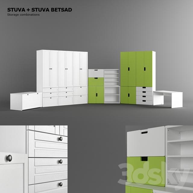 3d models full furniture set ikea stuva ikea stuva betsad sets. Black Bedroom Furniture Sets. Home Design Ideas