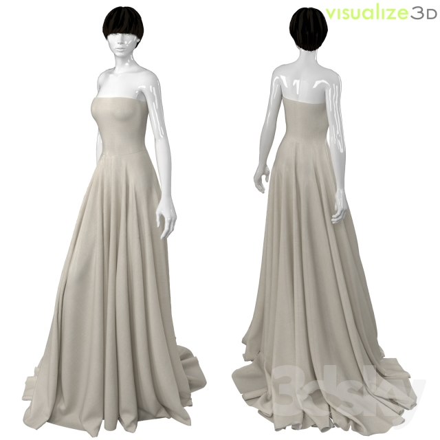 Mannequin With Long Wedding Dress