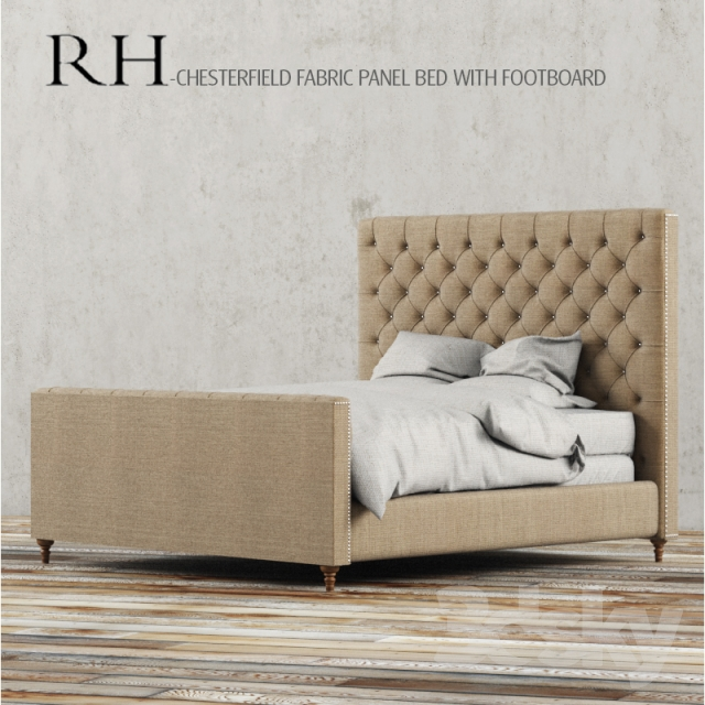Rh Chesterfield Fabric Panel Bed With Footboard