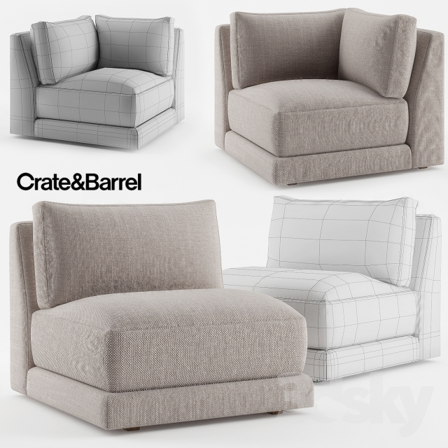 Crate U0026amp; Barrel Moda Armless Chair + Moda Corner Chair