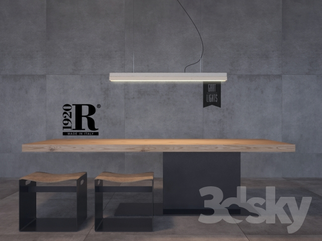 Riva Tisch Liam ~ 3d models Table + Chair  Table with stools Riva 1920 model LIAM IRON + pend