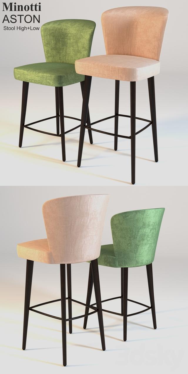 3d Models Chair Minotti Aston Stool High Low