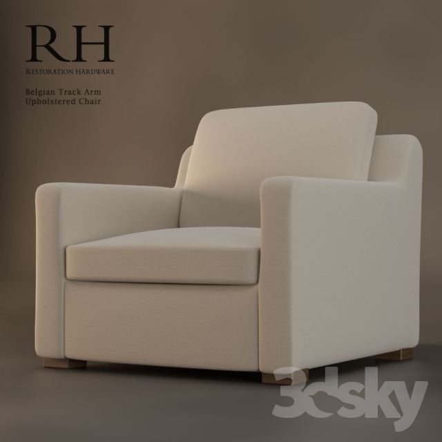 Beau Restoration Hardware Belgian Track Arm Upholstered Chair