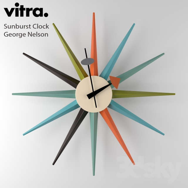 3d models other decorative objects vitra sunburst clock. Black Bedroom Furniture Sets. Home Design Ideas