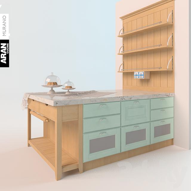 Mobile Kitchen Island 3d Model: Aran Cucine Murano Kitchen Island