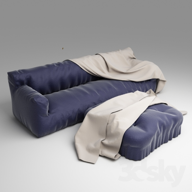 Fluffy Sofa With Blanket