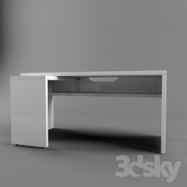 3d models table ikea malm 151x65 with pull out panel for Ikea desk with pull out panel