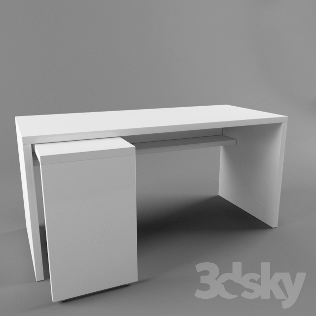 3d models: Table - Ikea malm 151x65 with pull-out panel