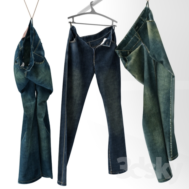 Jeans on a hanger and hook