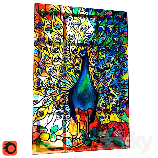 Glass Peacock / Stained Glass Peacock