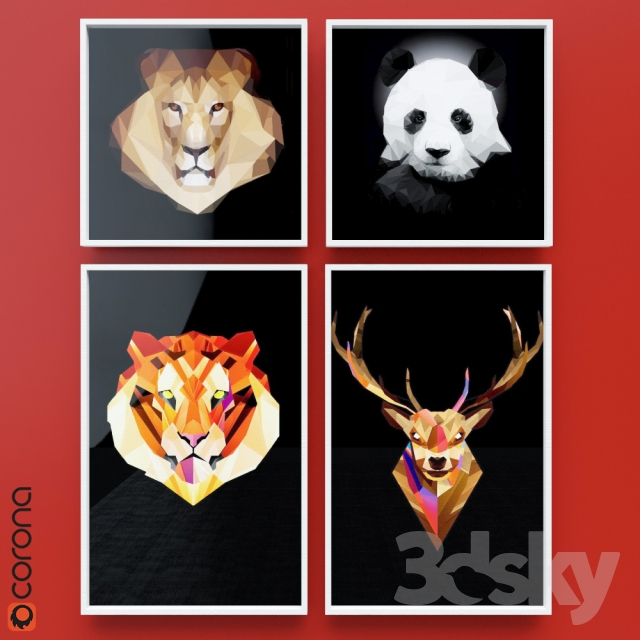 3d models: Frame - A series of paintings Low-Poly Animals