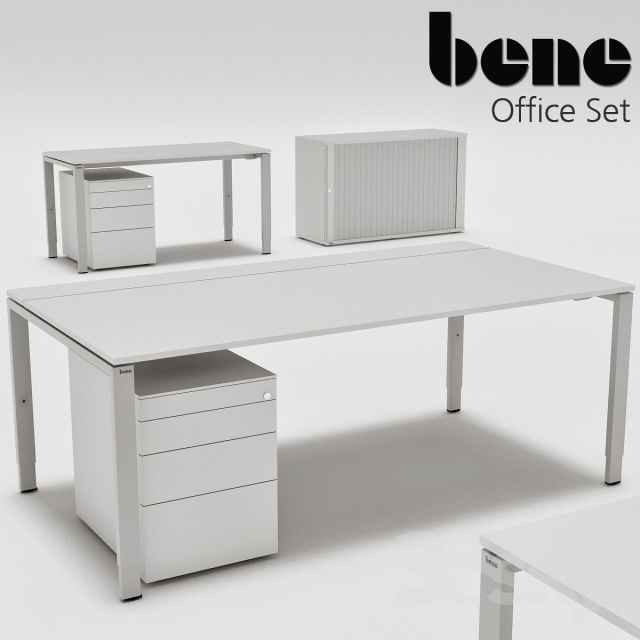 3d models Office furniture Bene Office Set Desk and Storage