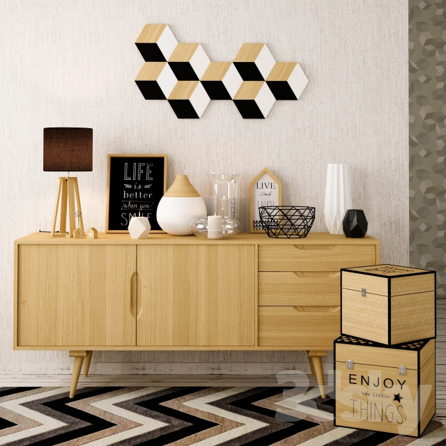 3d models decorative set maisons du monde blackstage. Black Bedroom Furniture Sets. Home Design Ideas