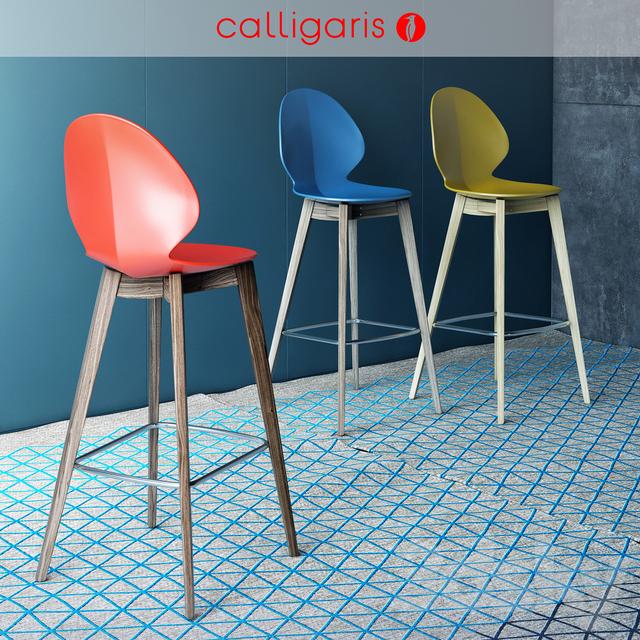 3d models chair calligaris bar chair basil w stool