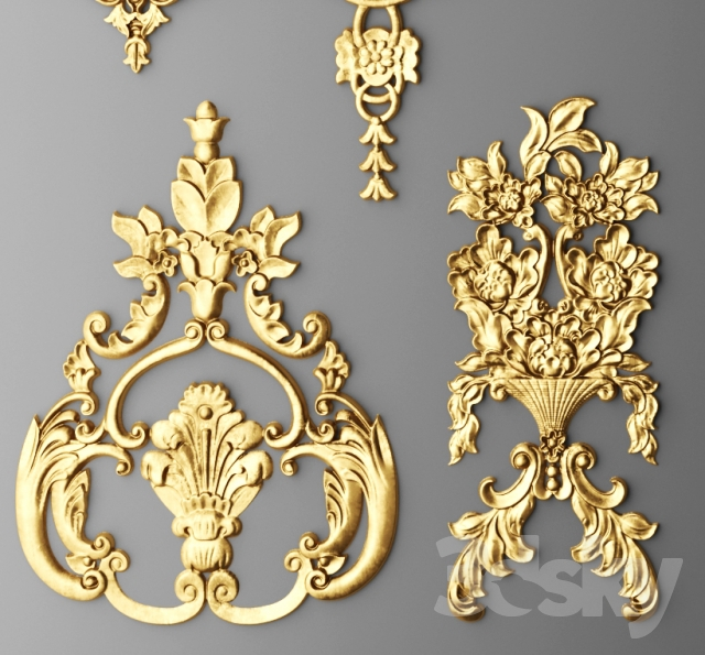 3d models decorative plaster stucco decor set for 3d decoration models