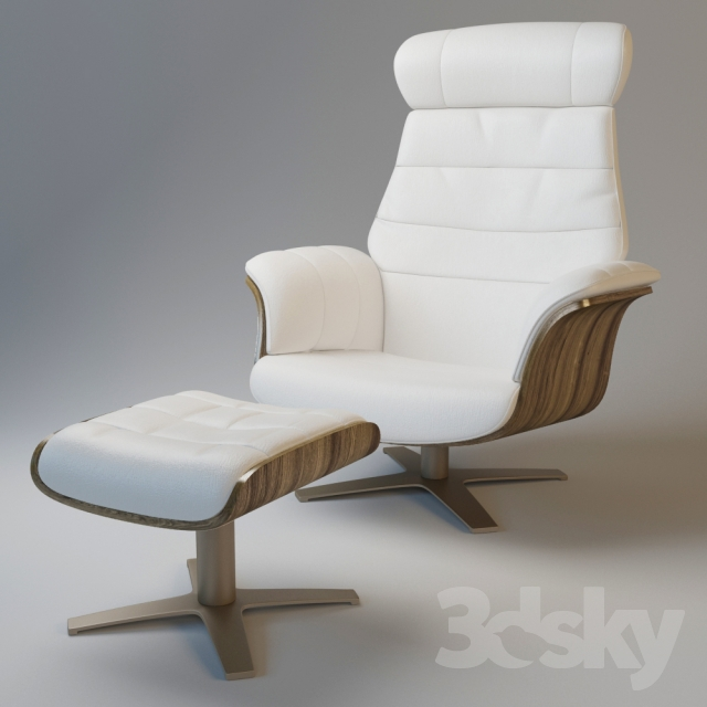 Divani Casa Charles Modern White Leather Reclining Chair