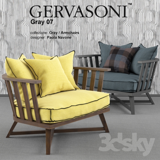 3d Models Arm Chair Gervasoni Gray 07 Armchair